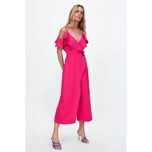 Zara Fuchsia Ruffled Wrap Cropped Jumpsuit XS